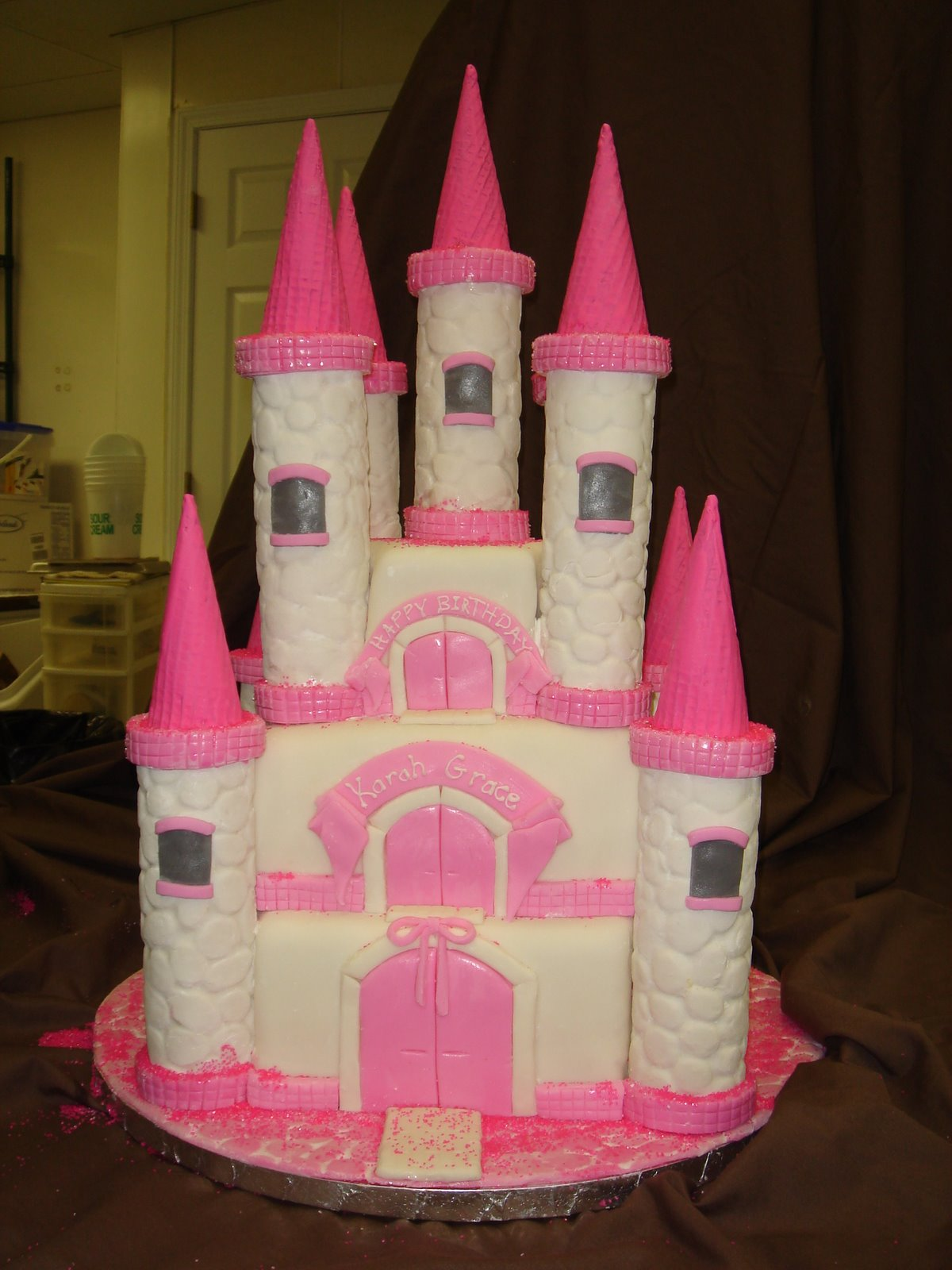 cake birthday kids fondant buttercream princess castle ...