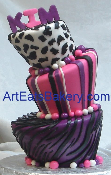 Animal print fondant birthday cakes for women and young ladies Art