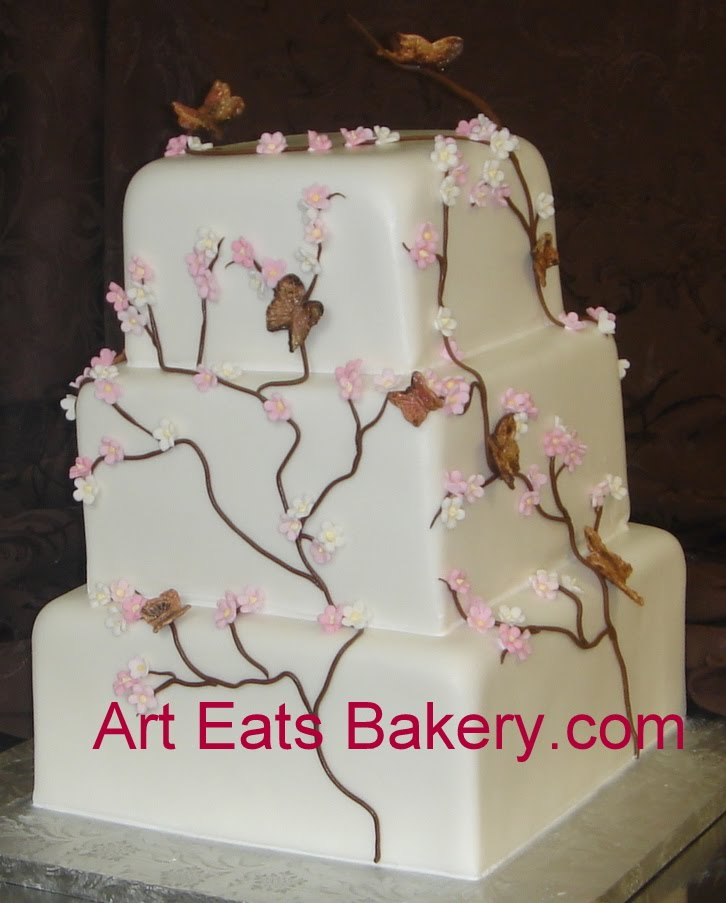 square wedding cake with fondant flowers bakery in spartanburg sc eats bakery page 5 20437