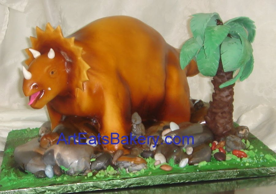 Stupendous Kids Custom Fondant 3D Triceratops Dinosaur Birthday Cake Art Funny Birthday Cards Online Alyptdamsfinfo