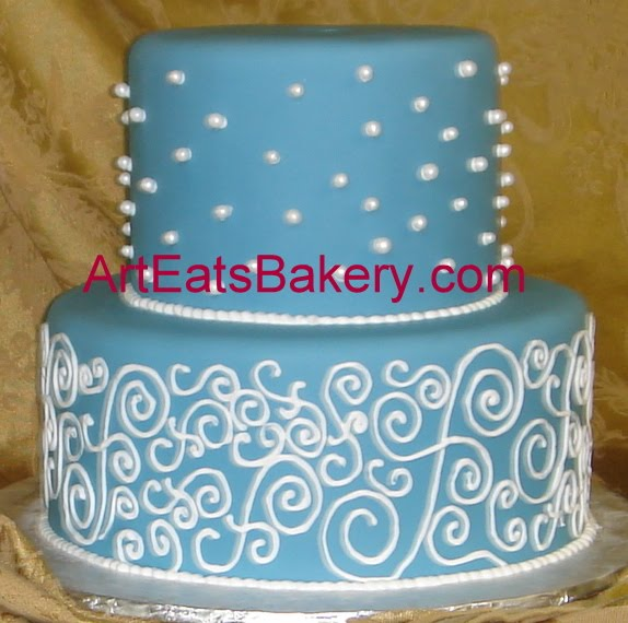 Two Tier Custom Designed Blue Fondant Unique Pearls And Curlicues Wedding  Cake In Greenville, SC