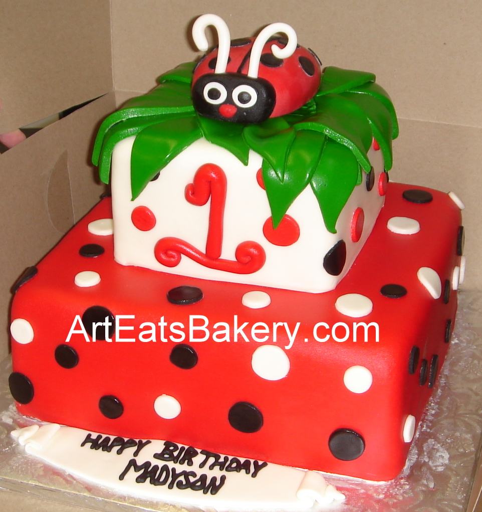 Red and white square cake