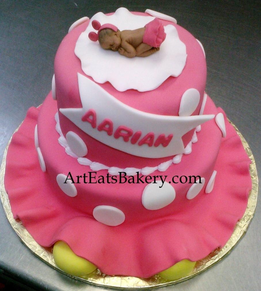 3d Pink And White Polka Dot Custom Modern Girl S Baby