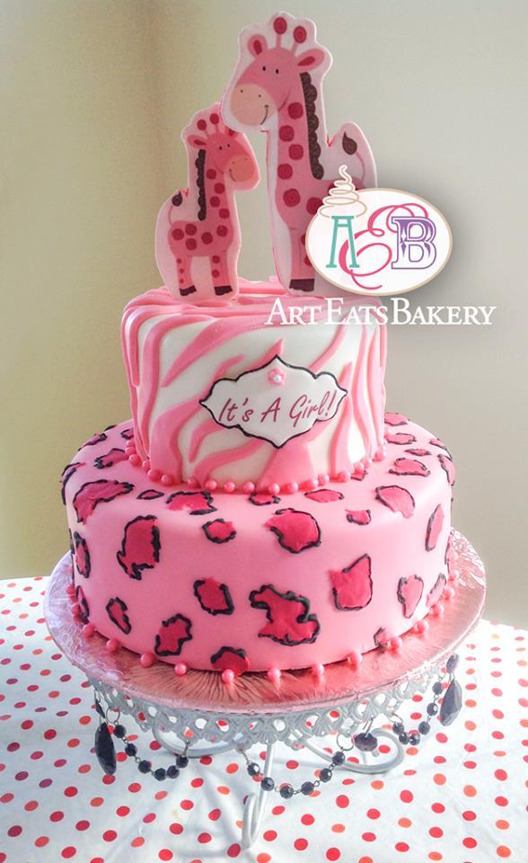 Pink Cheetah Print Baby Shower Cake