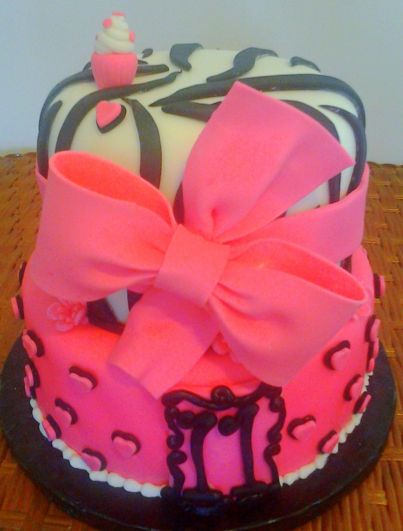 Birthday Cake Modern Art : Girl s two tier animal print zebra stripe and hearts pink ...